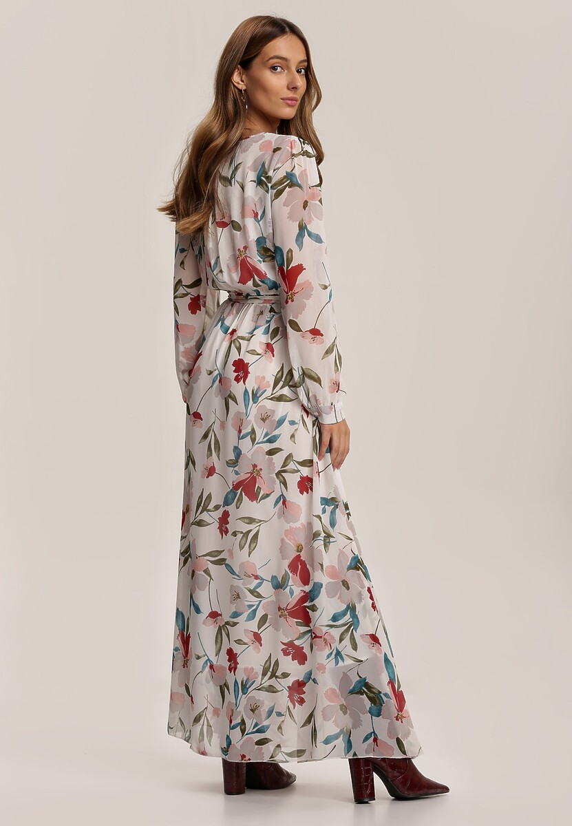 Biało-Bordowa Sukienka Guinerinia