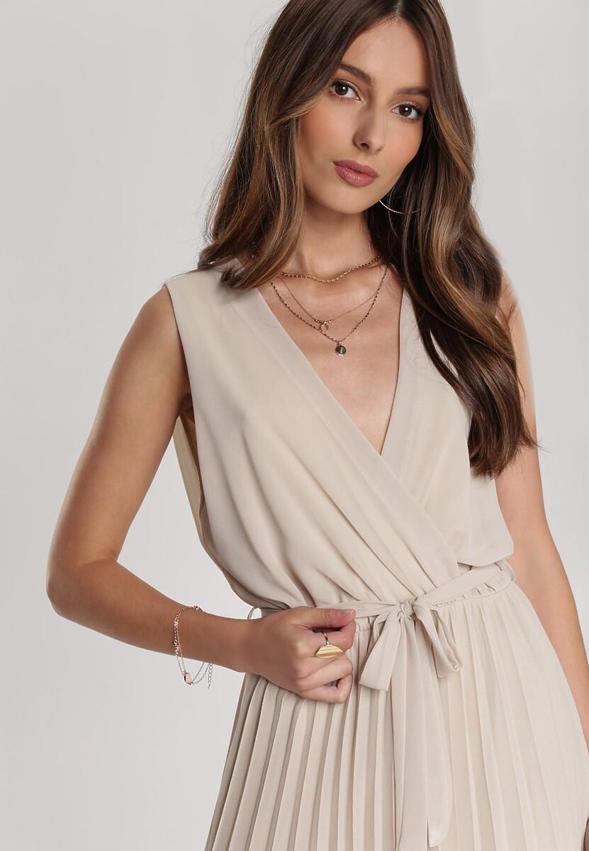 Beżowa Sukienka Echonohre