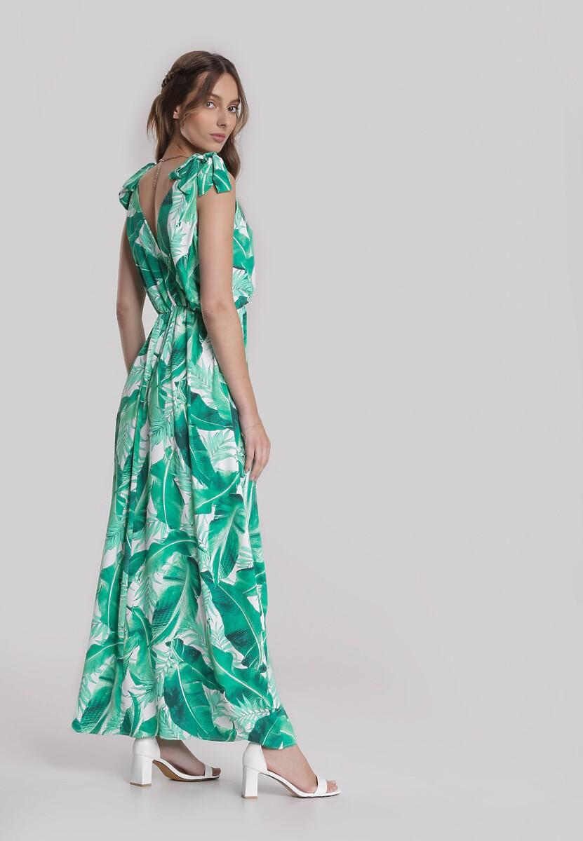 Biało-Zielona Sukienka Aquirin