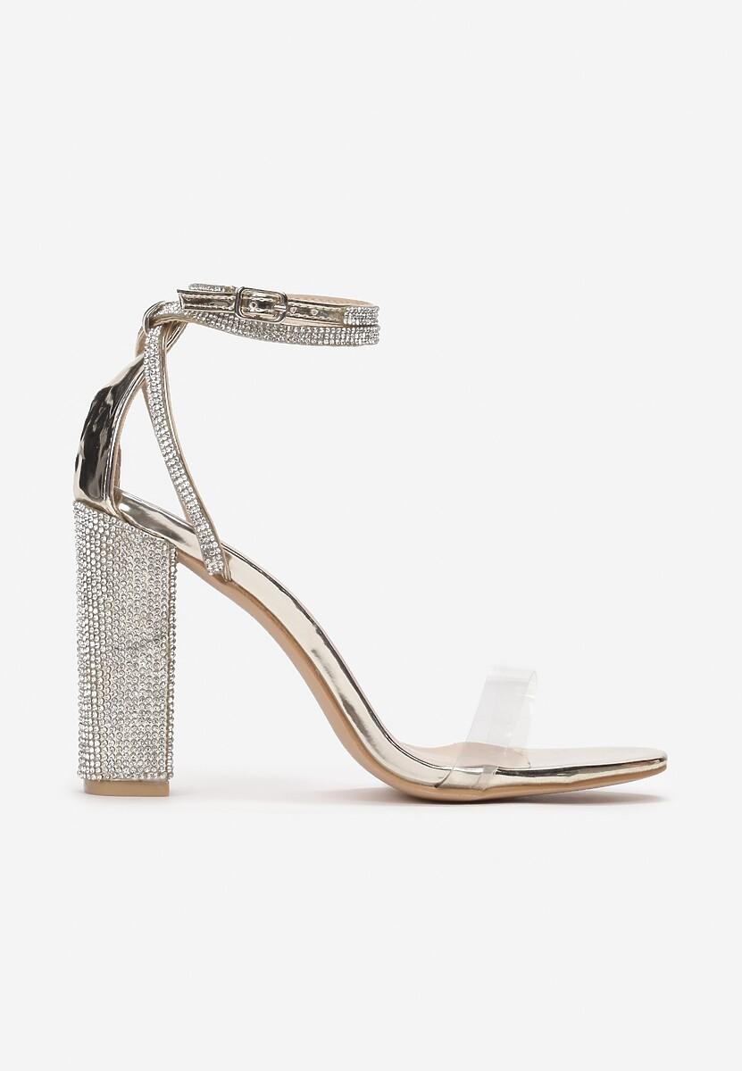 Złote Transparentne Sandały Rhethera