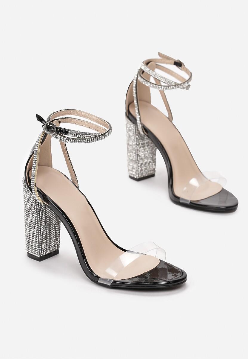 Czarne Transparentne Sandały Rhethera