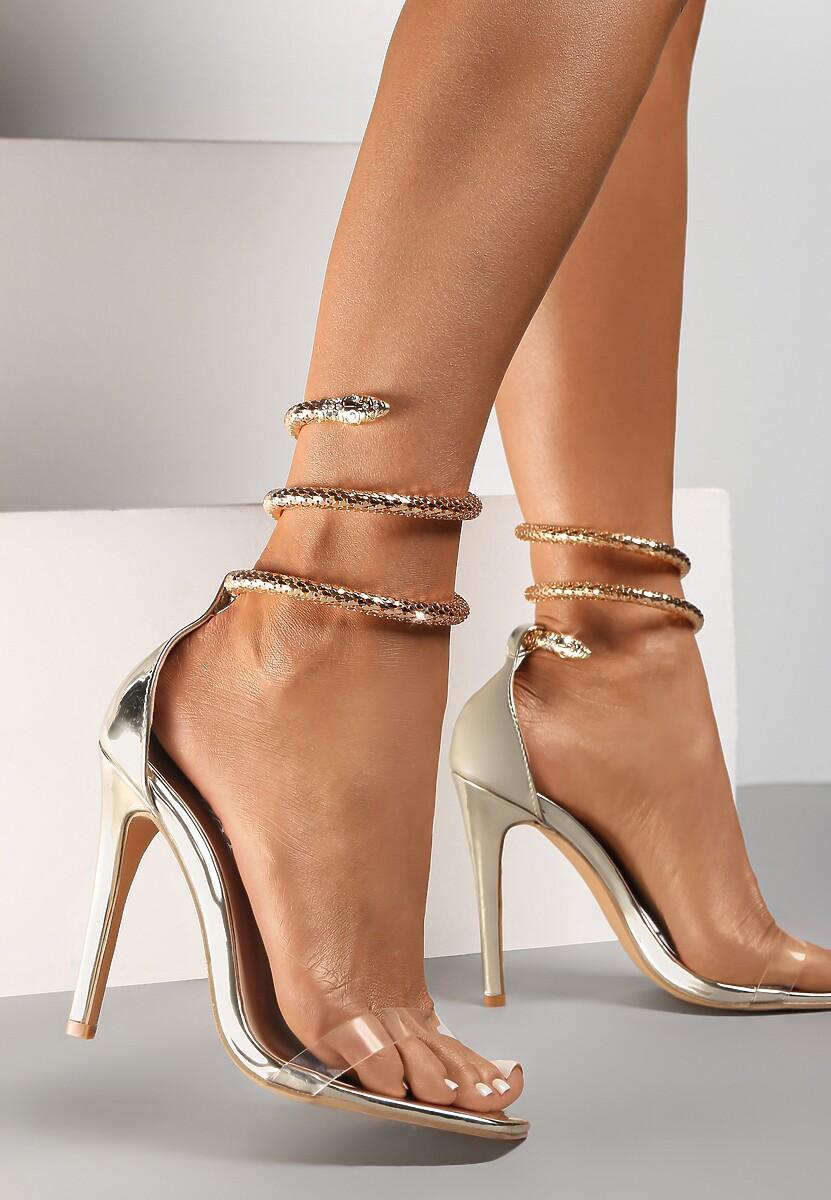 Złote Transparentne Sandały Saphalane