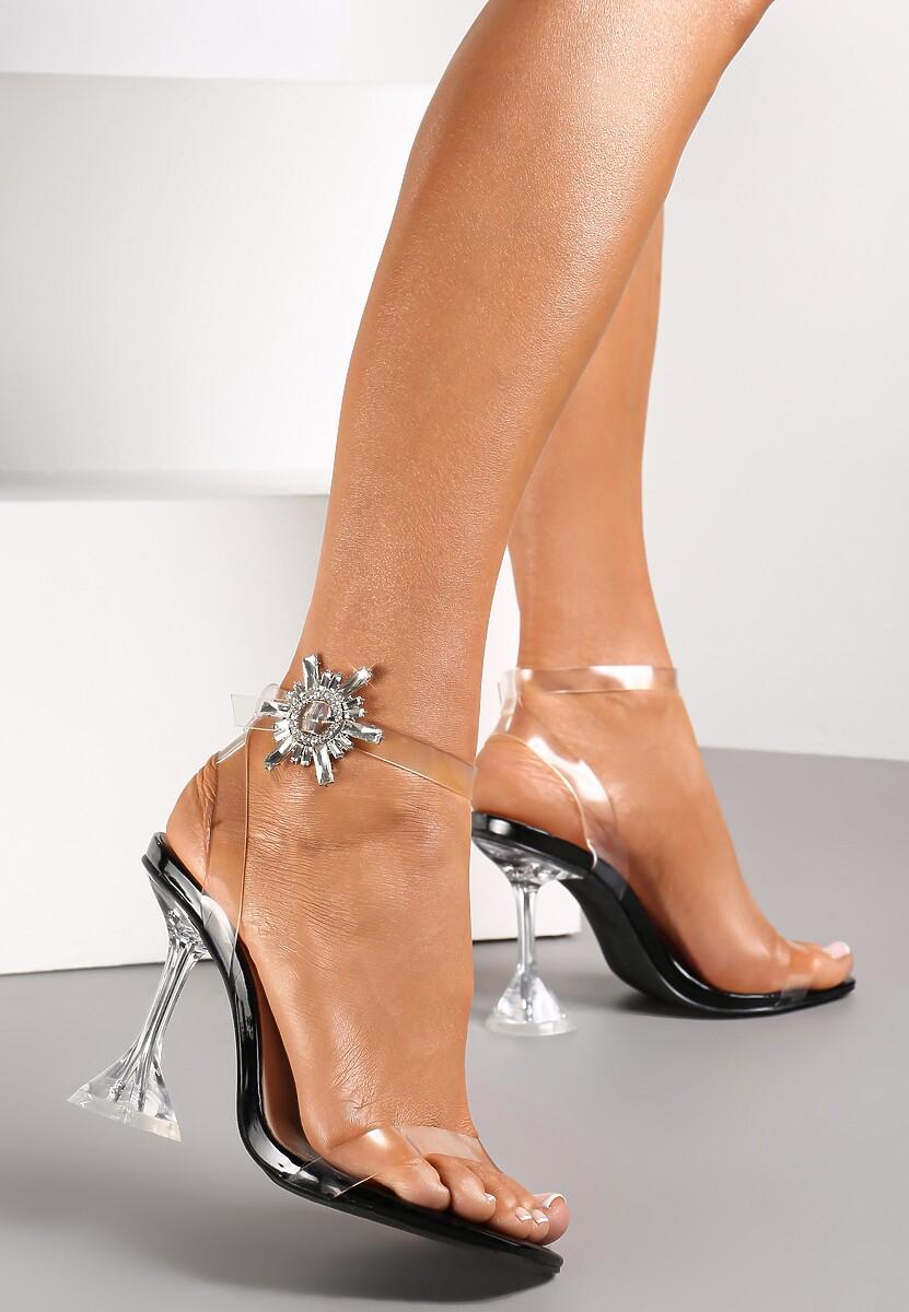 Czarne Transparentne Sandały Pirerane