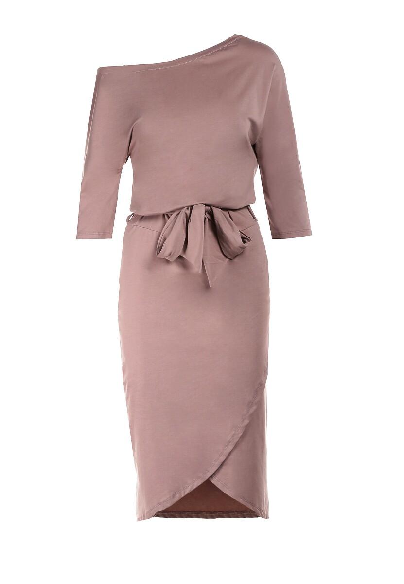 Beżowa Sukienka Kimodia
