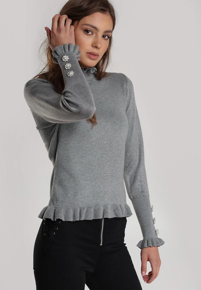 Szary damski sweter golf w warkocz - Sweter z golfem