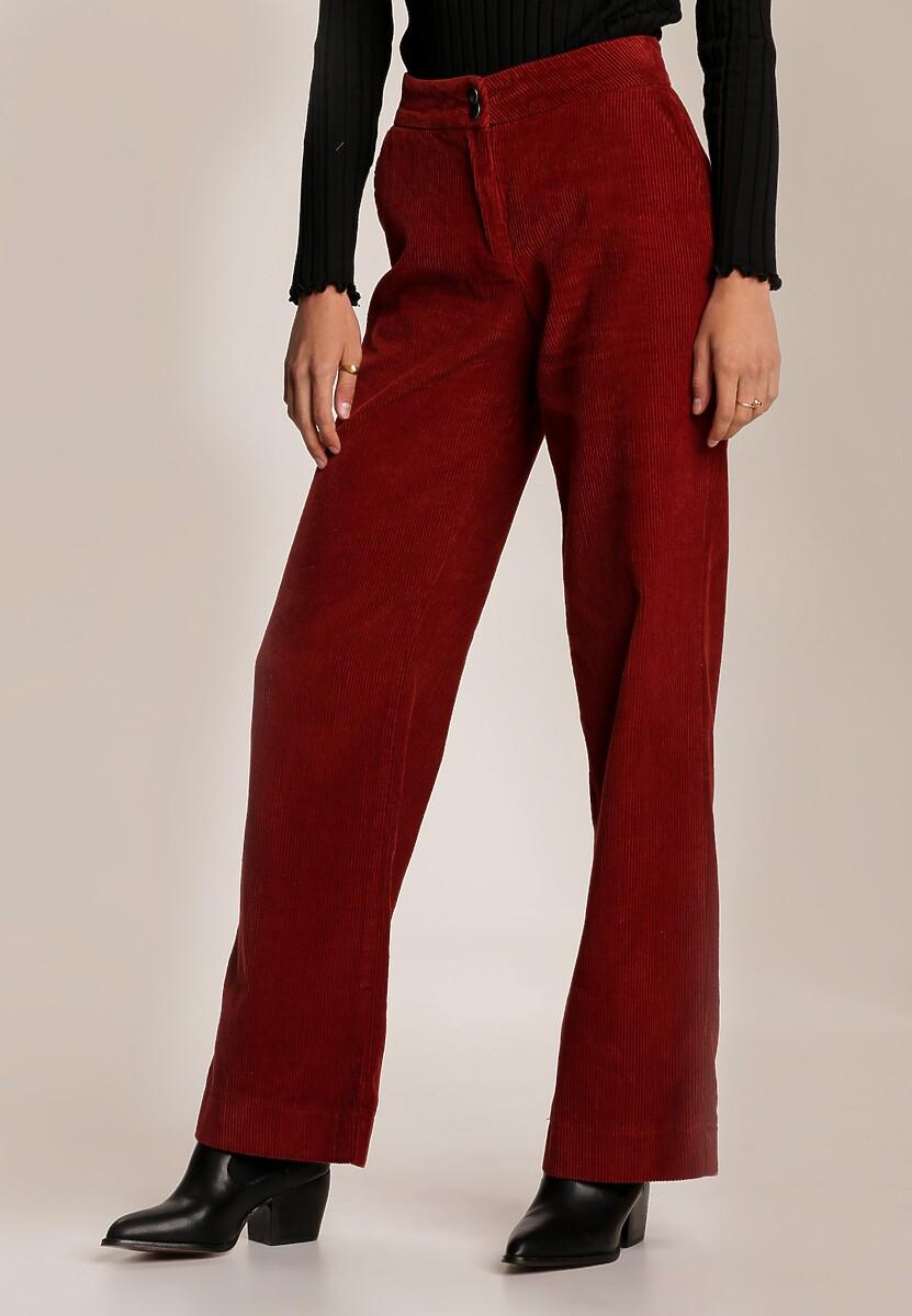 Bordowe Spodnie Szerokie Parrila