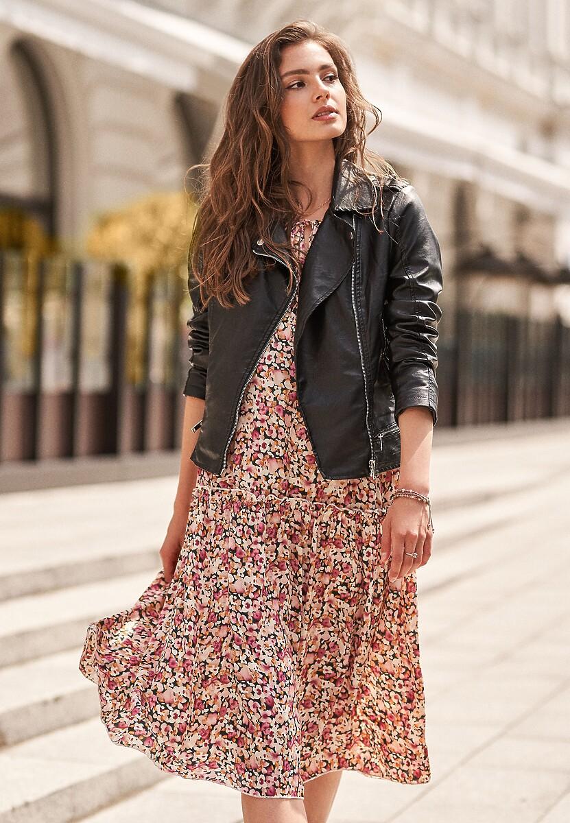 Czarno-Różowa Sukienka Winova
