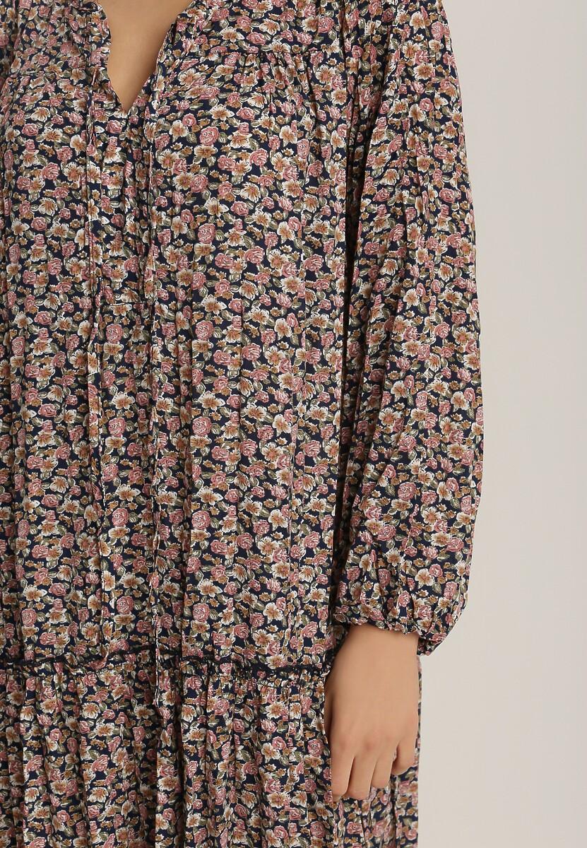 Granatowo-Różowa Sukienka Iphisvia