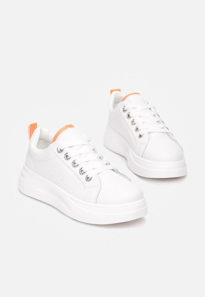 Biało-Pomarańczowe Sneakersy Elisise