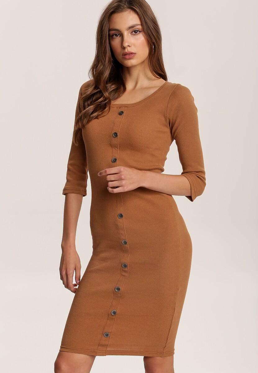 Camelowa Sukienka Mezyera