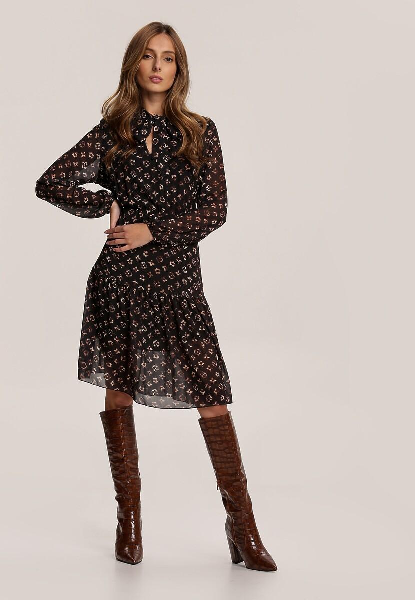 Czarno-Beżowa Sukienka Qhesieth