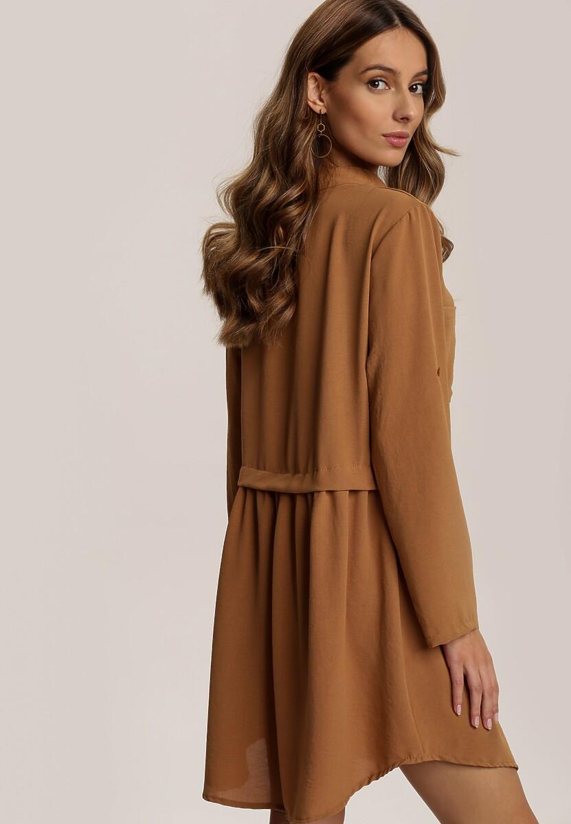 Ciemnobeżowa Sukienka Elrinaris