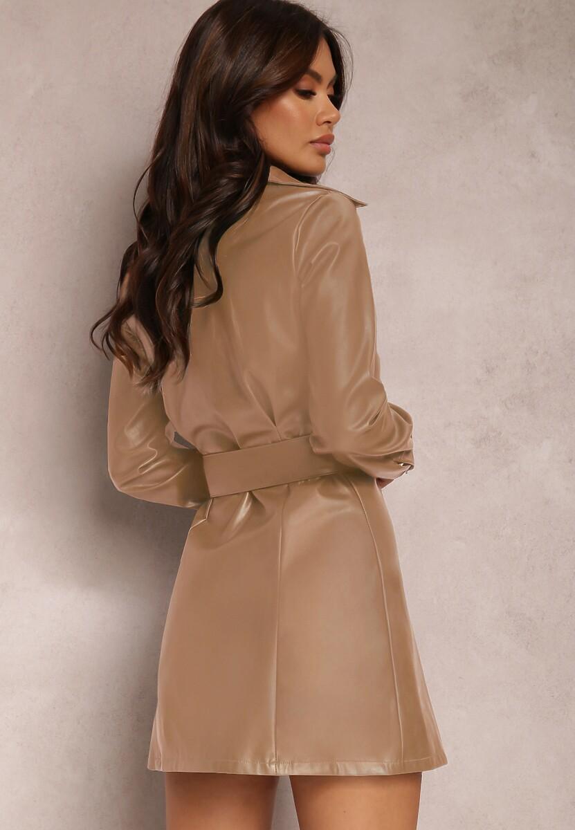 Beżowa Sukienka Drenyera