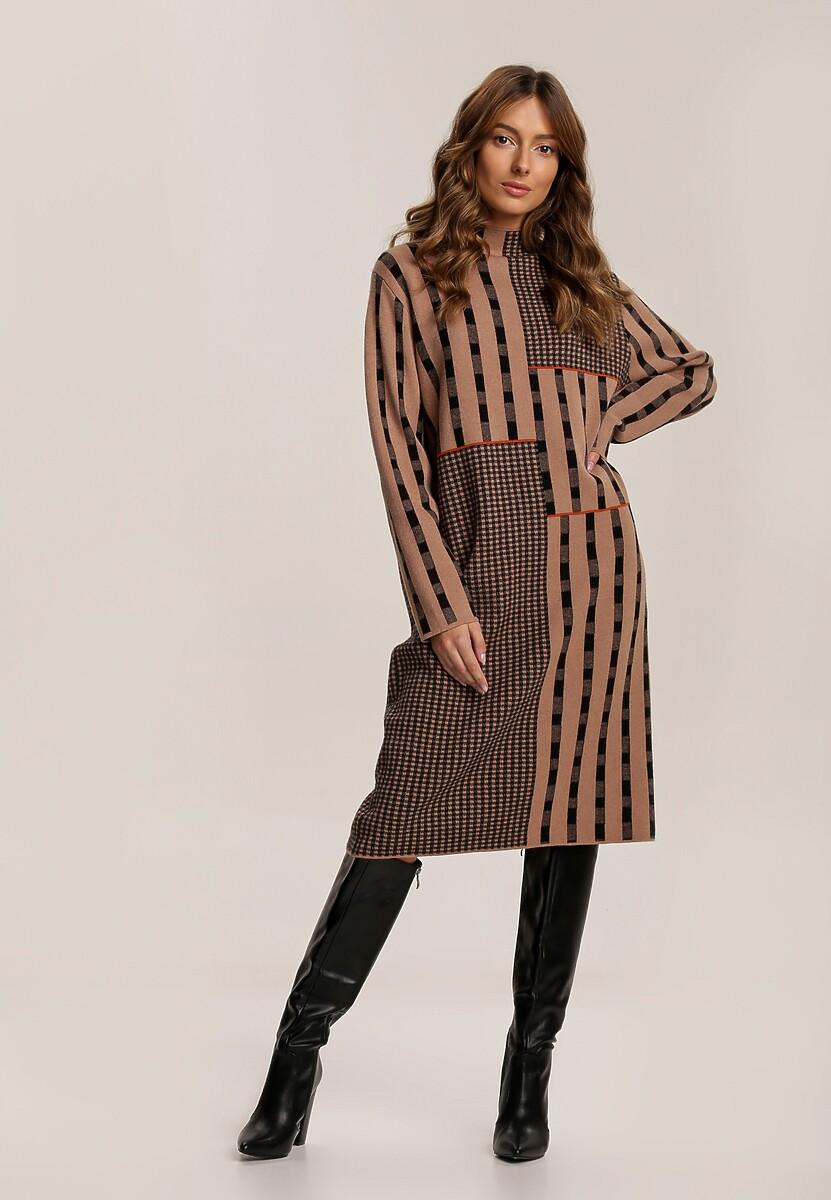 Ciemnobeżowa Sukienka Dzianinowa Mahryx