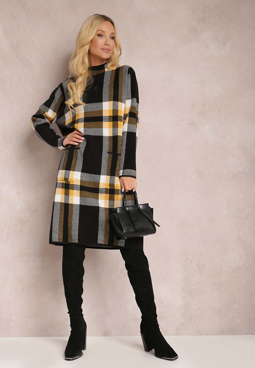 Czarno-Żółta Sukienka Tryxiesh