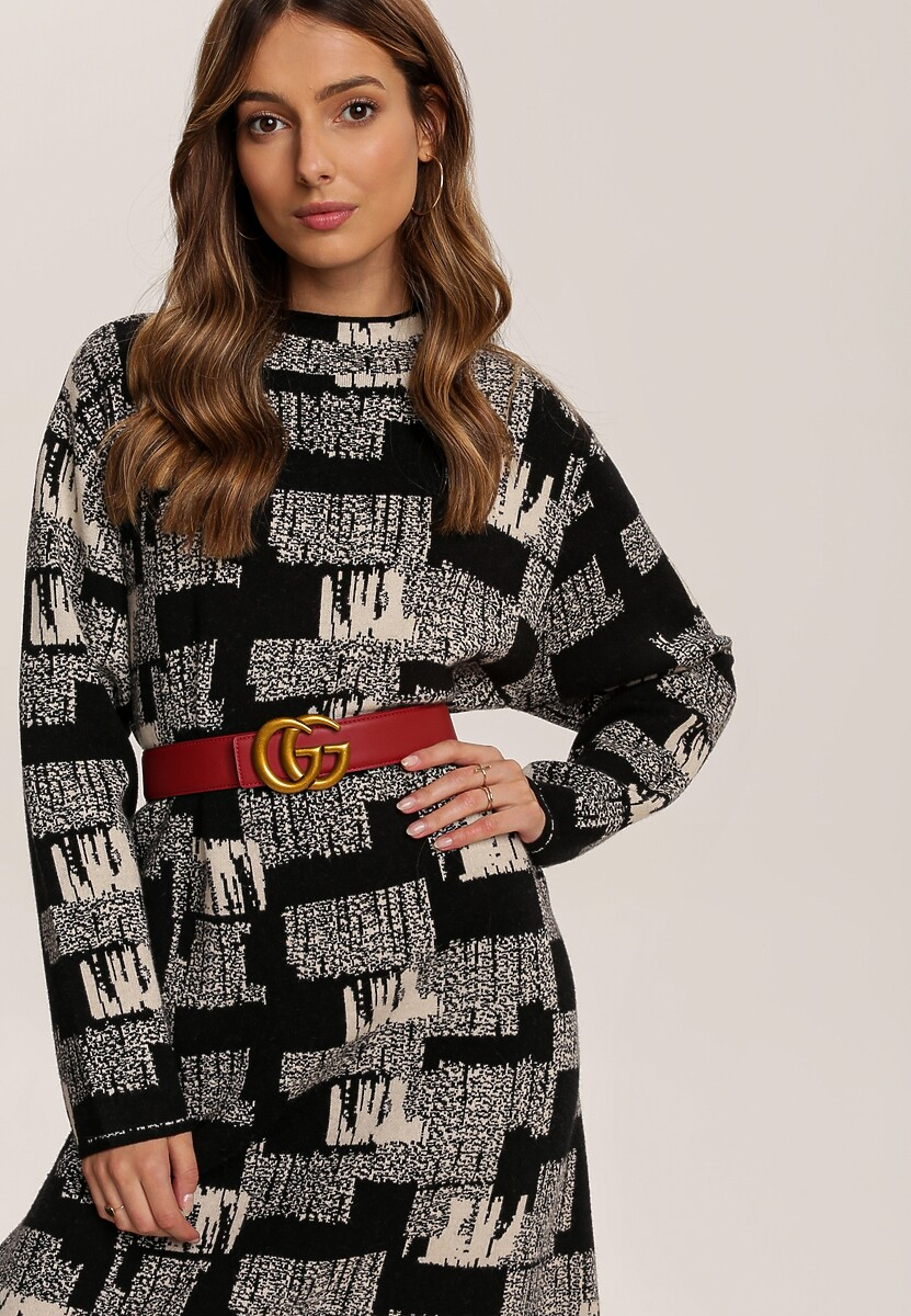 Kremowa Sukienka Dzianinowa Hyired
