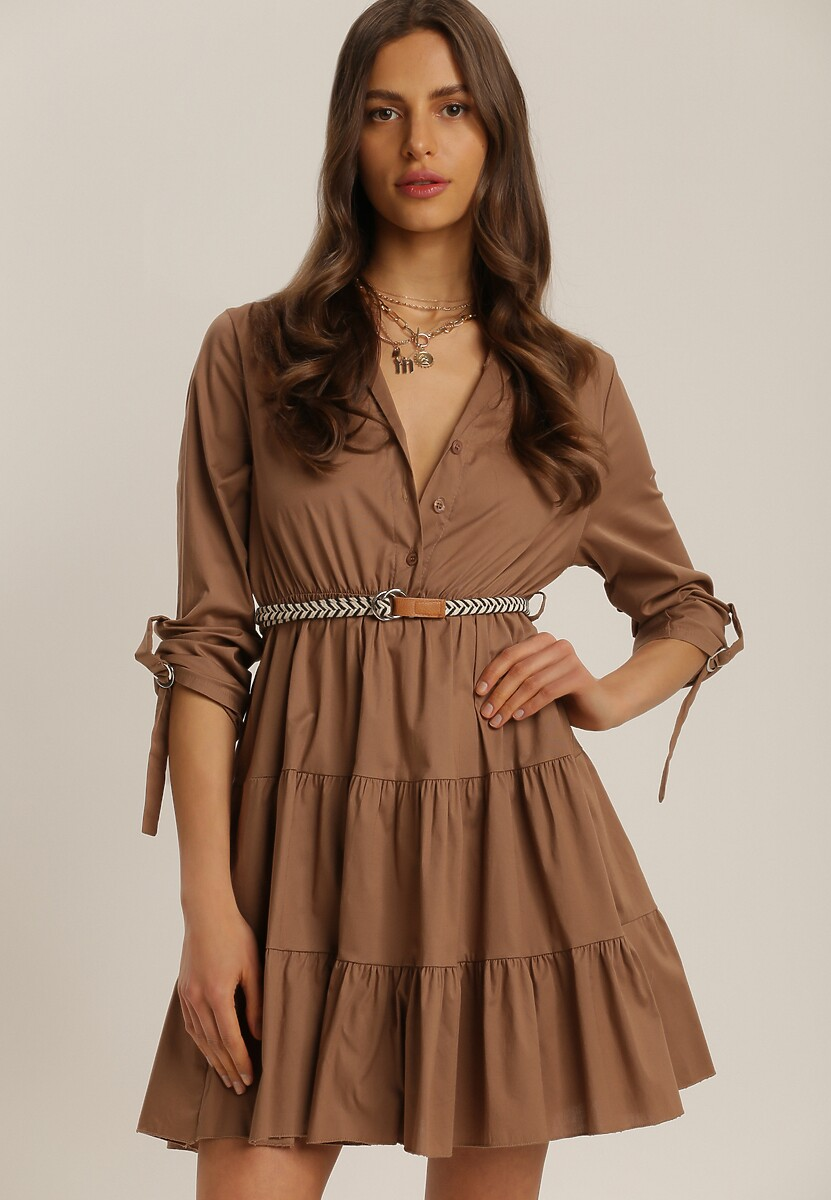 Ciemnobeżowa Sukienka Singleoak