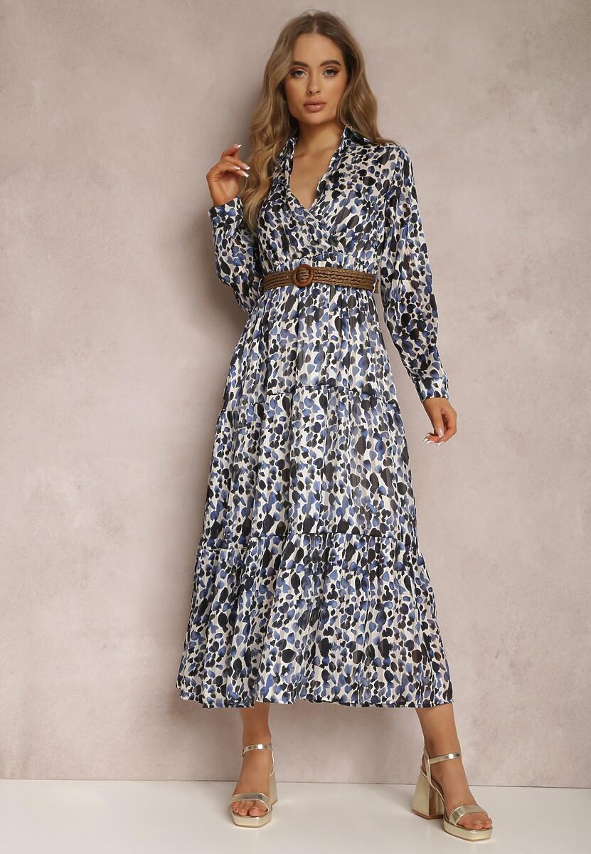 Niebieska Sukienka Mossaxe