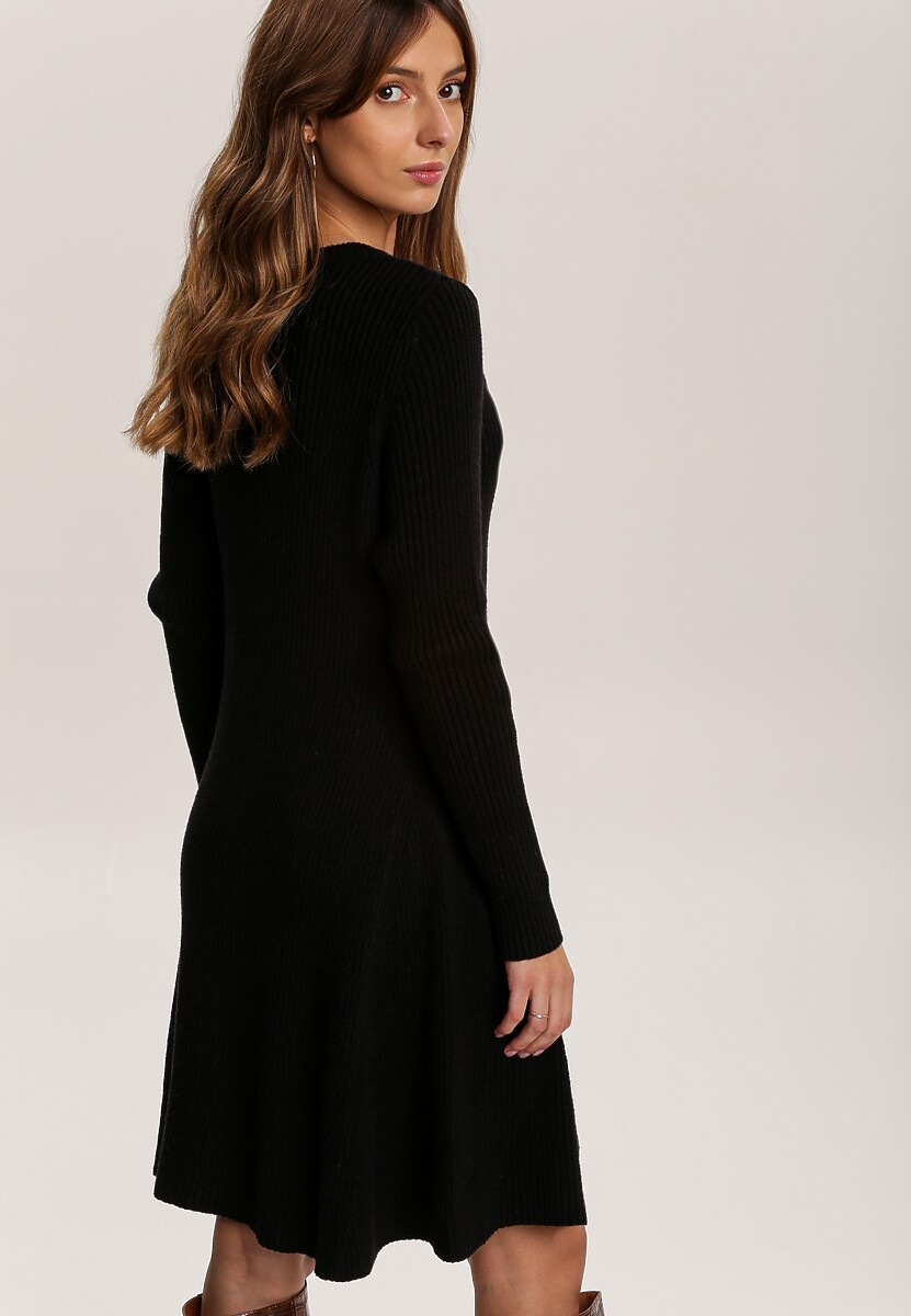Czarna Sukienka Dzianinowa Burben