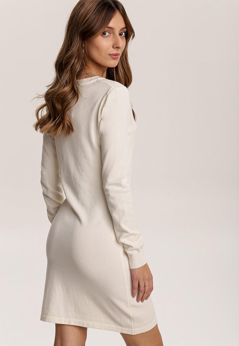 Jasnobeżowa Sukienka Dzianinowa Crit