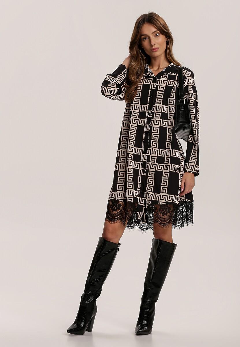 Czarno-Beżowa Sukienka Franred