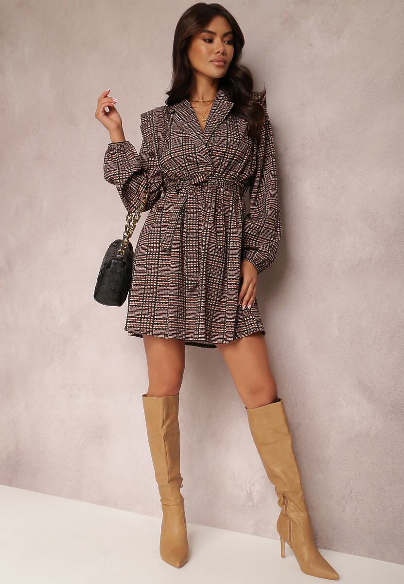 Beżowo-Czarna Sukienka Reyntien