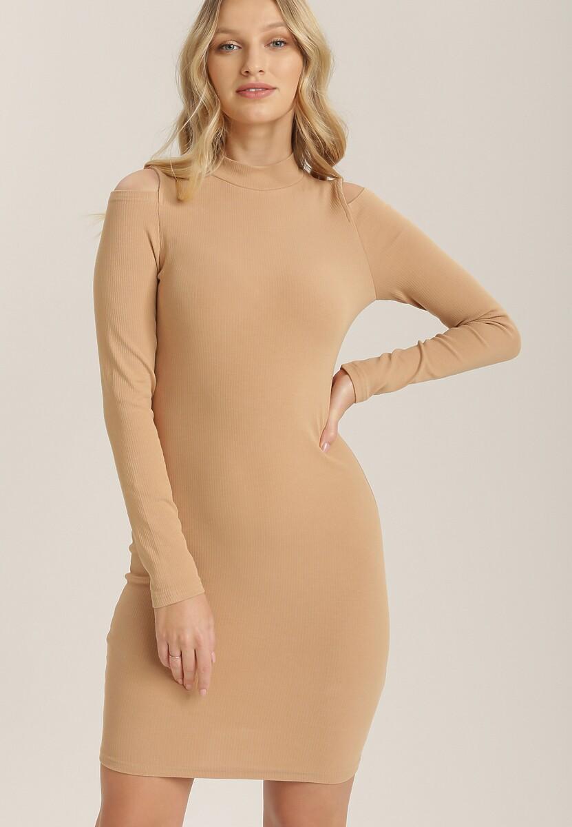 Ciemnobeżowa Sukienka Dzianinowa Limoliria