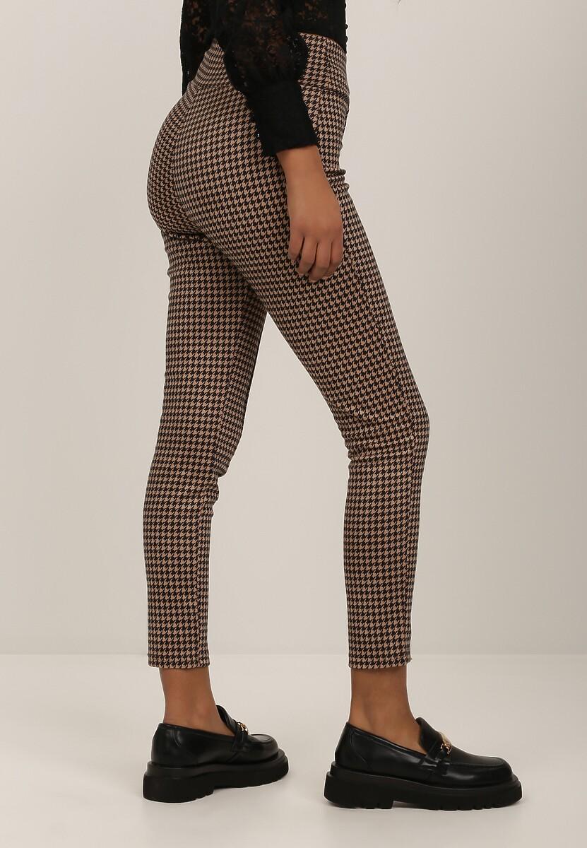 Beżowe Spodnie Skinny Leurose