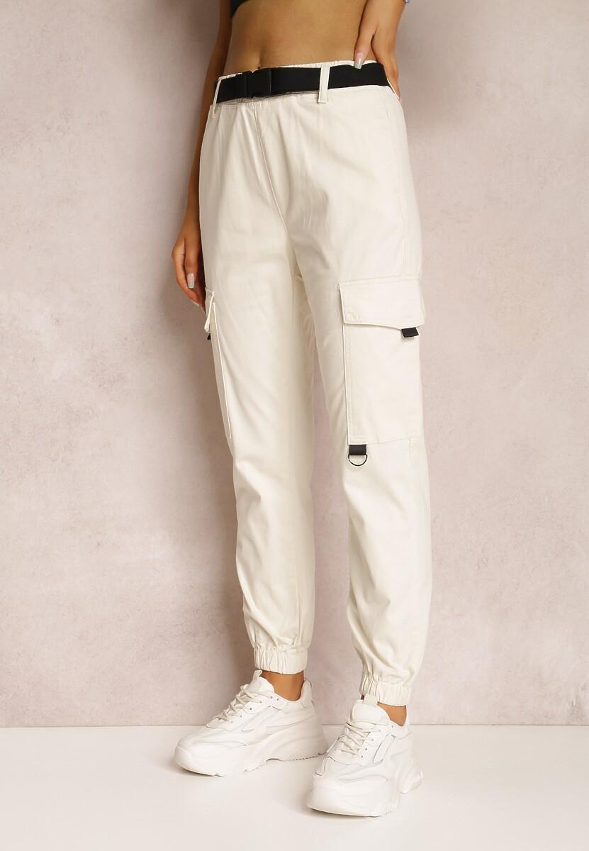Białe Spodnie Joggery Cariloria