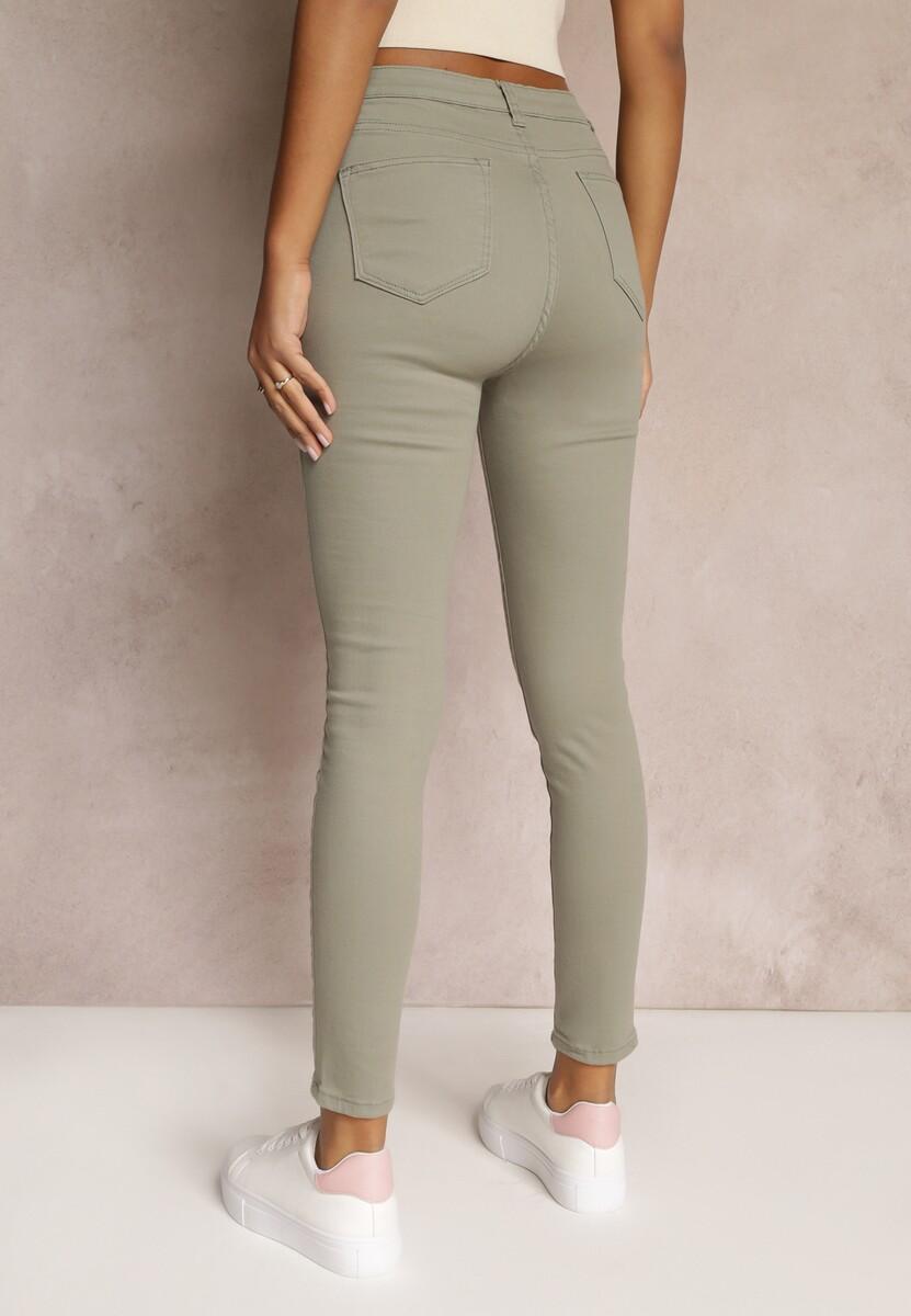 Ciemnozielone Spodnie Skinny Winvienne