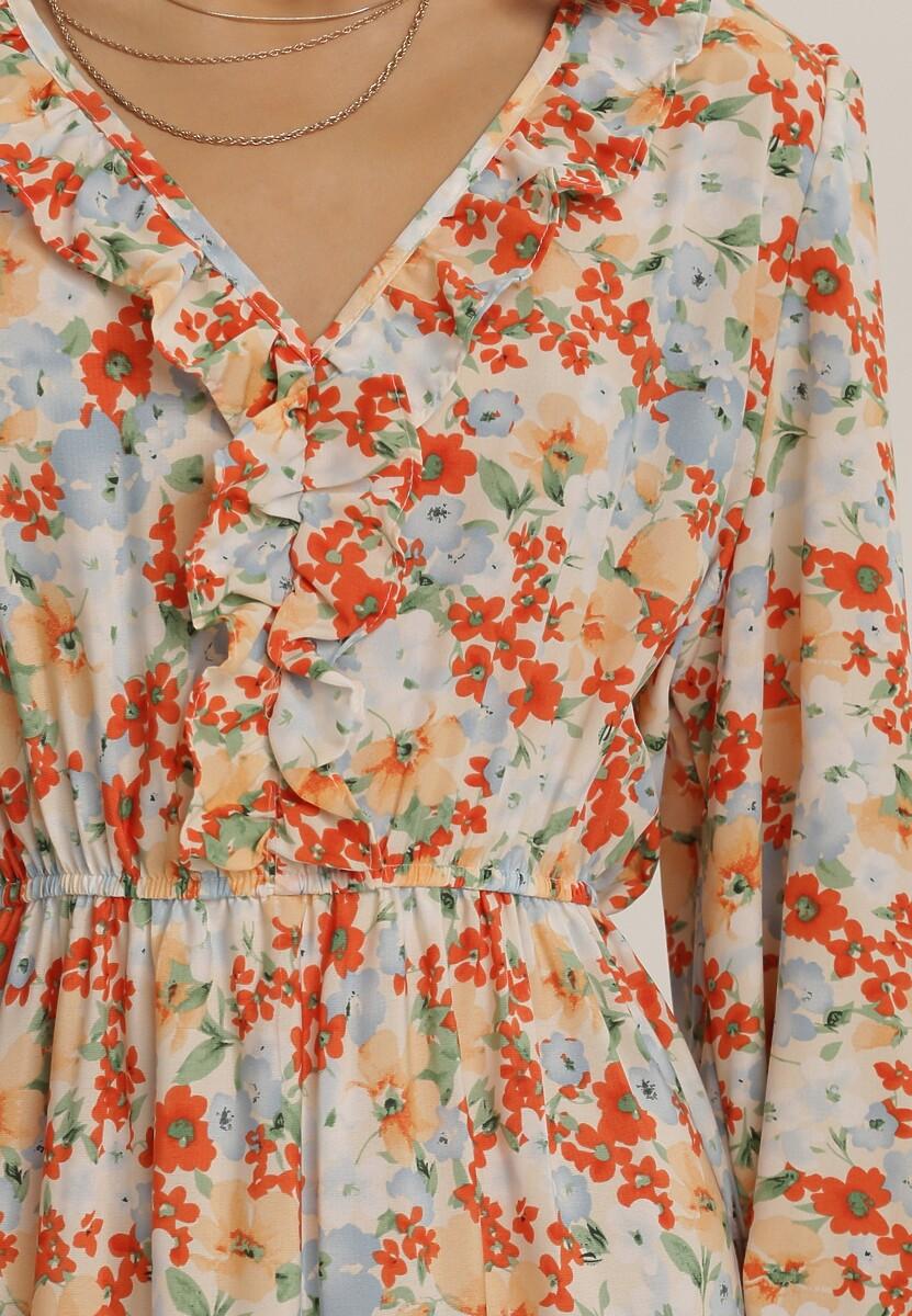 Biało-Pomarańczowa Sukienka Adramala