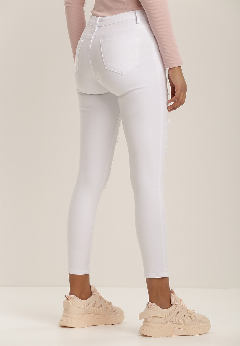 Białe Spodnie Skinny Idaphonos
