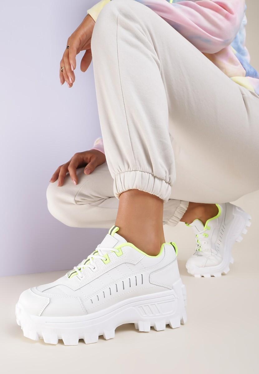 Biało-Limonkowe Sneakersy Anarena