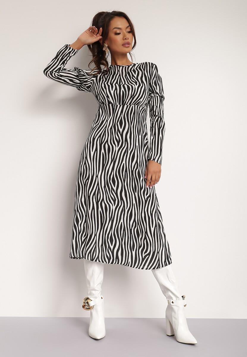 Czarno-Biała Sukienka Elinele