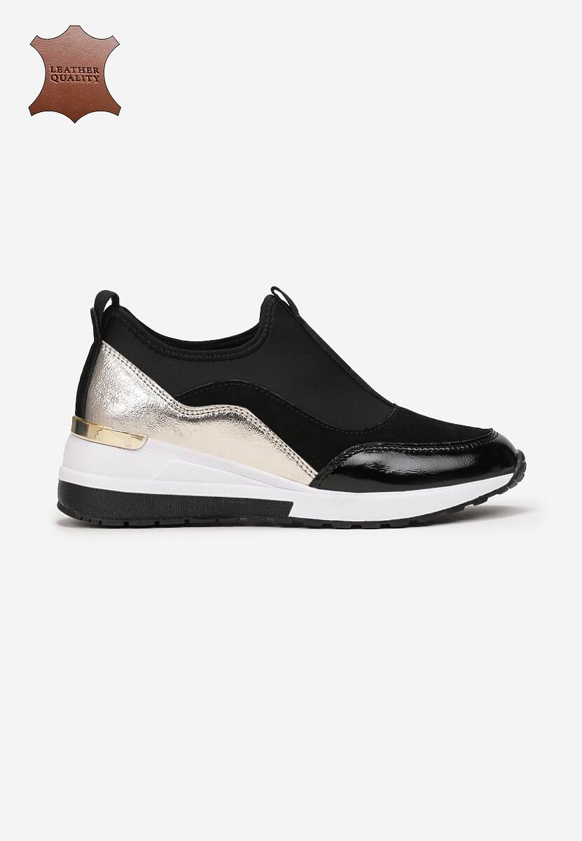 Czarno-Złote Skórzane Sneakersy Edrius
