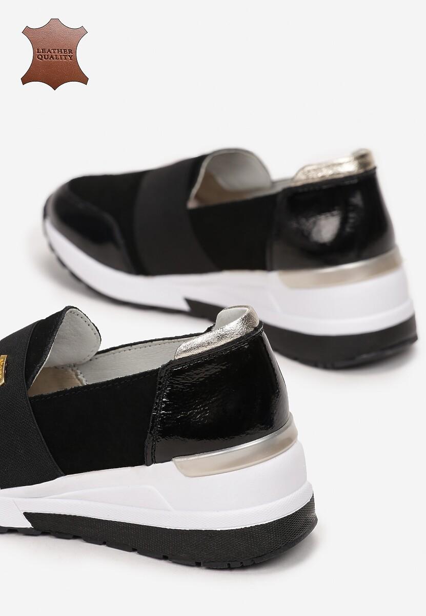 Czarno-Złote Skórzane Sneakersy Driote