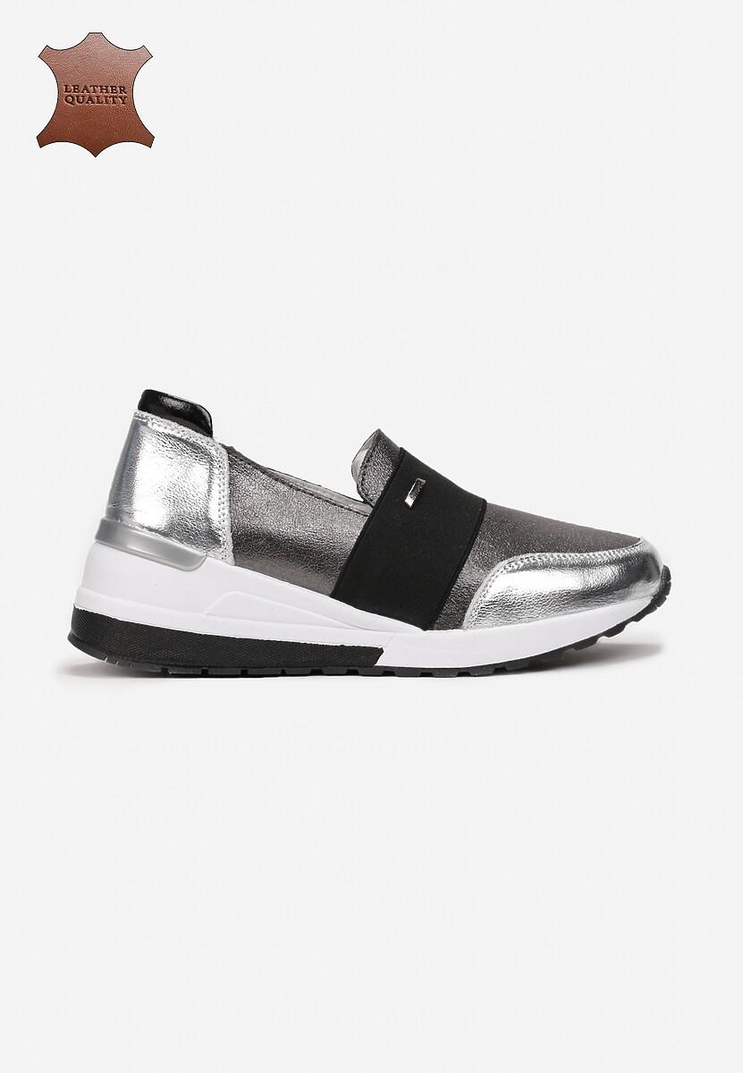 Srebrne Skórzane Sneakersy Driote