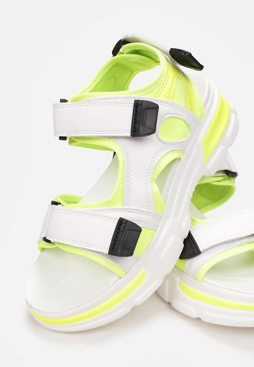 Biało-Limonkowe Sandały Zeleris