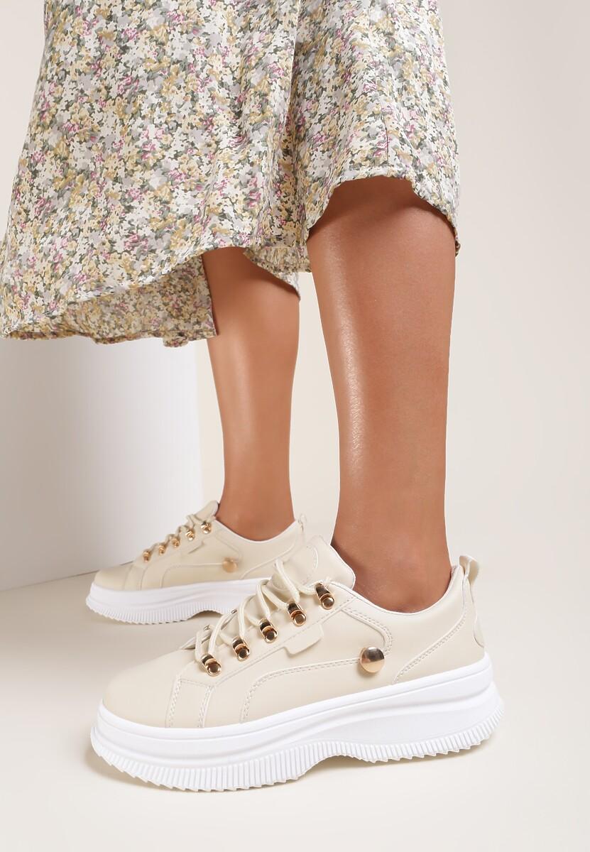 Beżowe Sneakersy Gnartiran