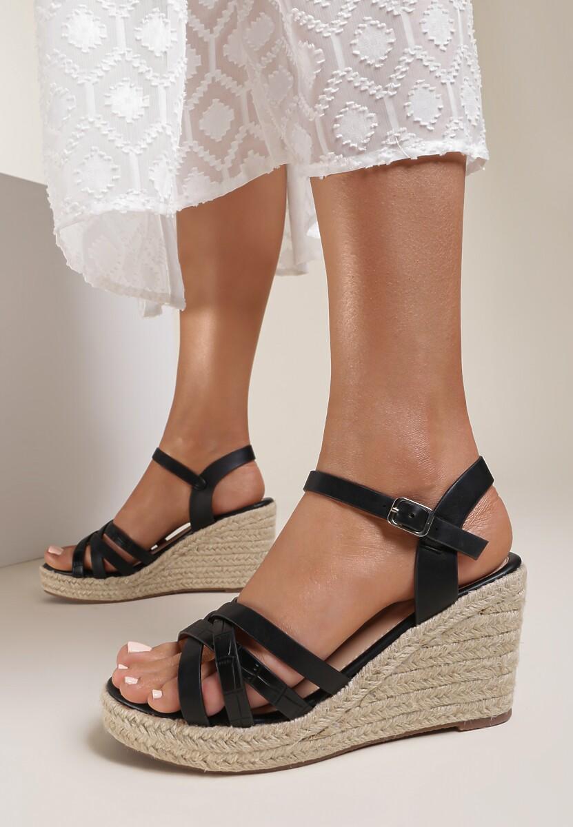 Czarne Sandały Acsixa