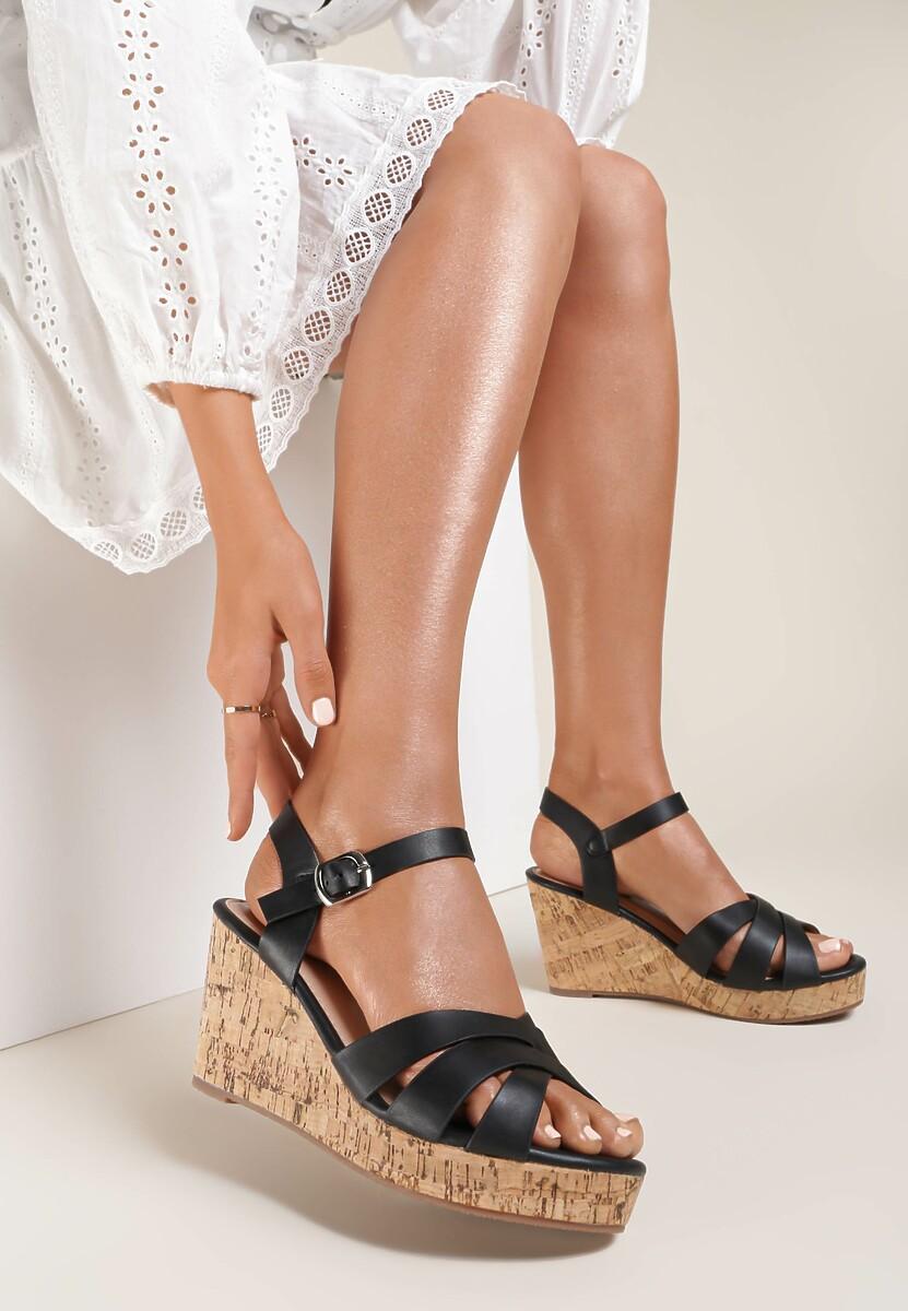 Czarne Sandały Sinymes