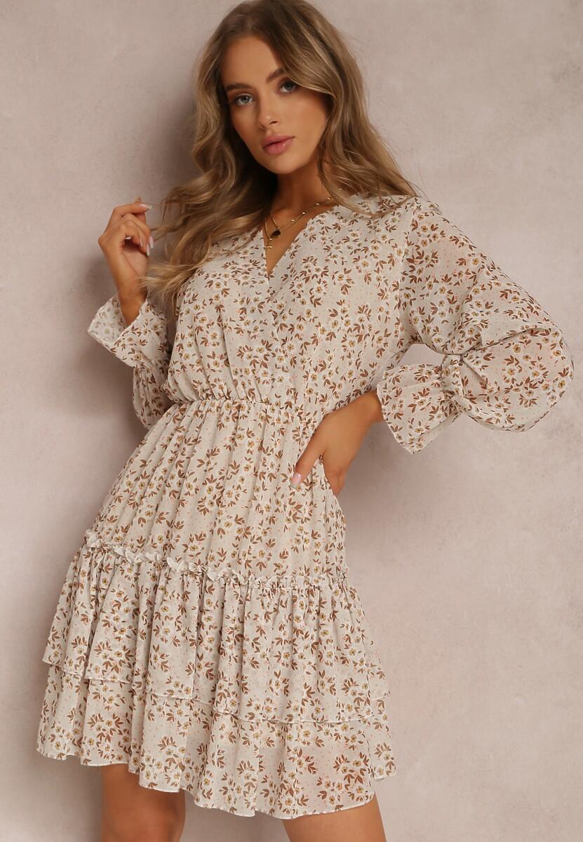 Jasnobeżowa Sukienka Kyrinda