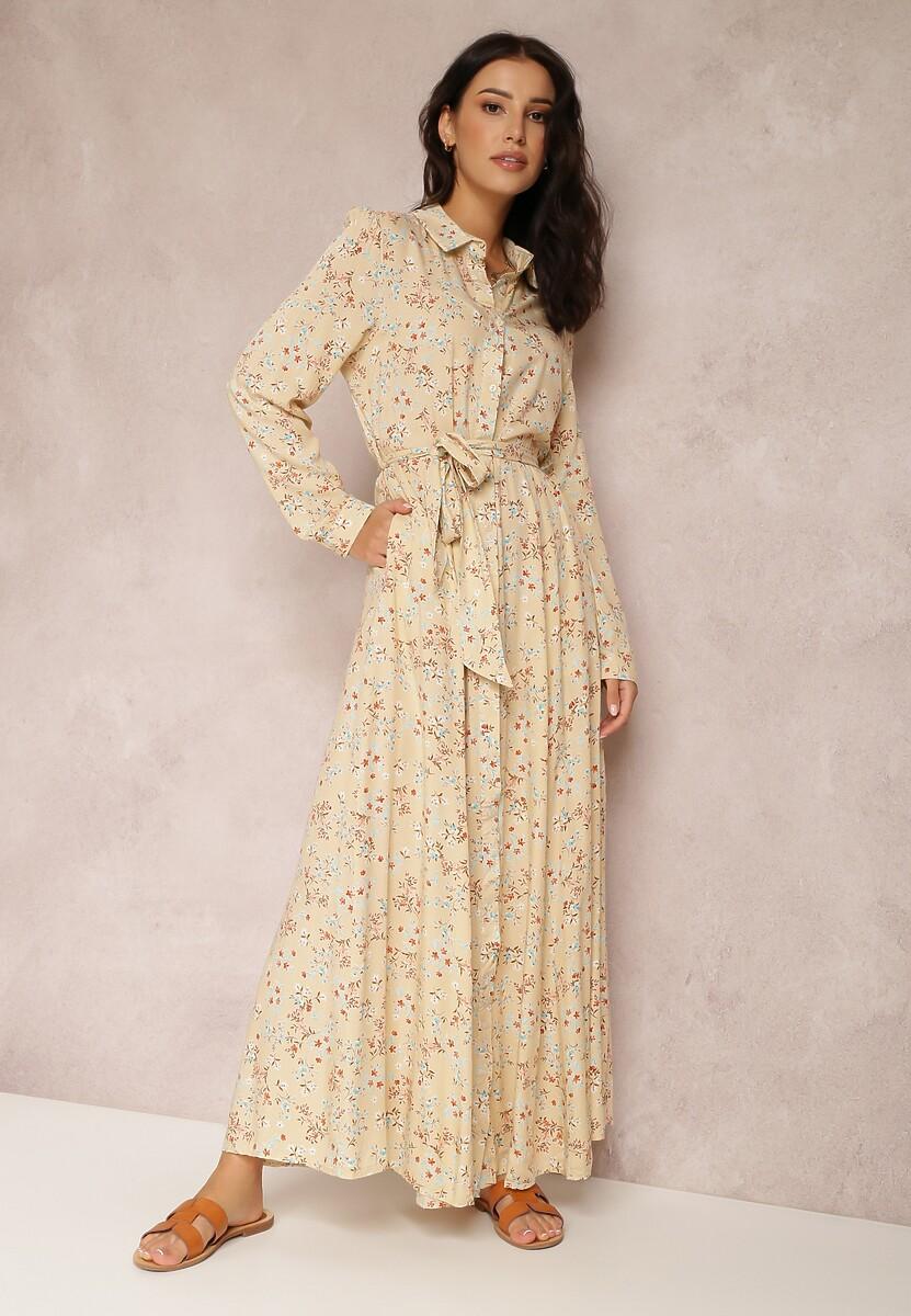 Jasnobeżowa Sukienka Nautirenna