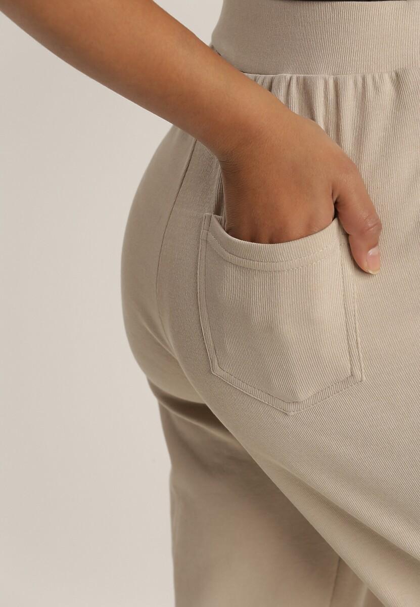 Beżowe Spodnie Dresowe Kisseasi