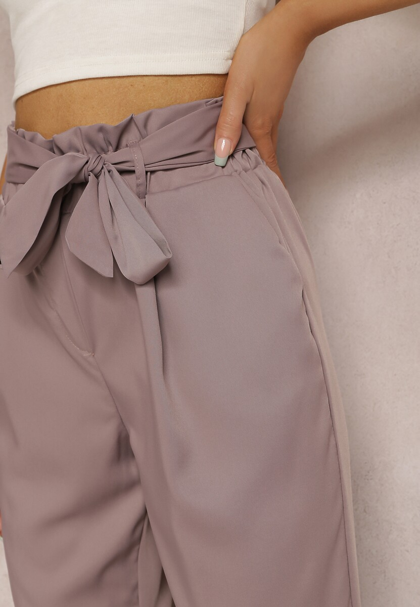 Ciemnofioletowe Spodnie Paper Bag Castophi