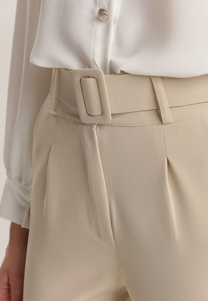 Jasnobeżowe Spodnie Cygaretki Daphyxio