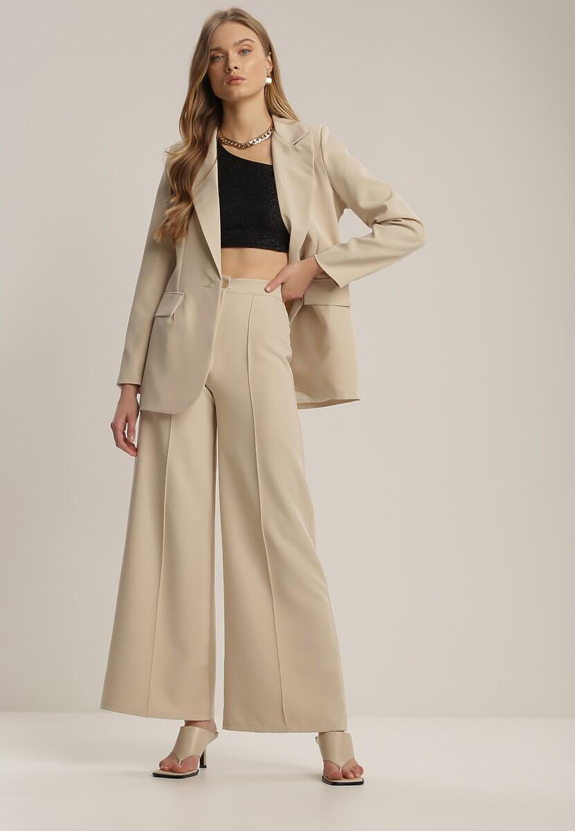 Jasnobeżowe Spodnie Szerokie Crephithe