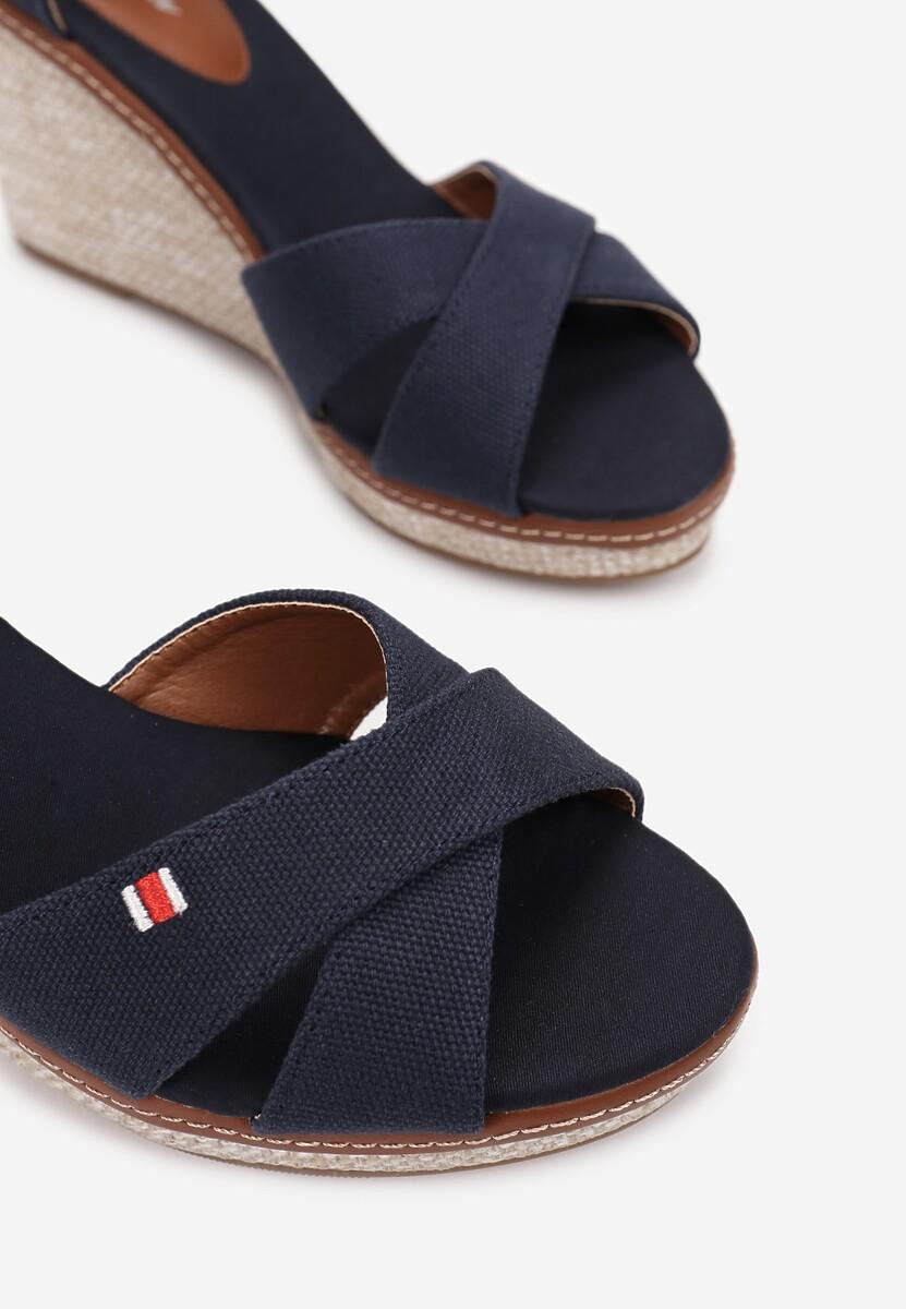 Granatowe Sandały Petirane