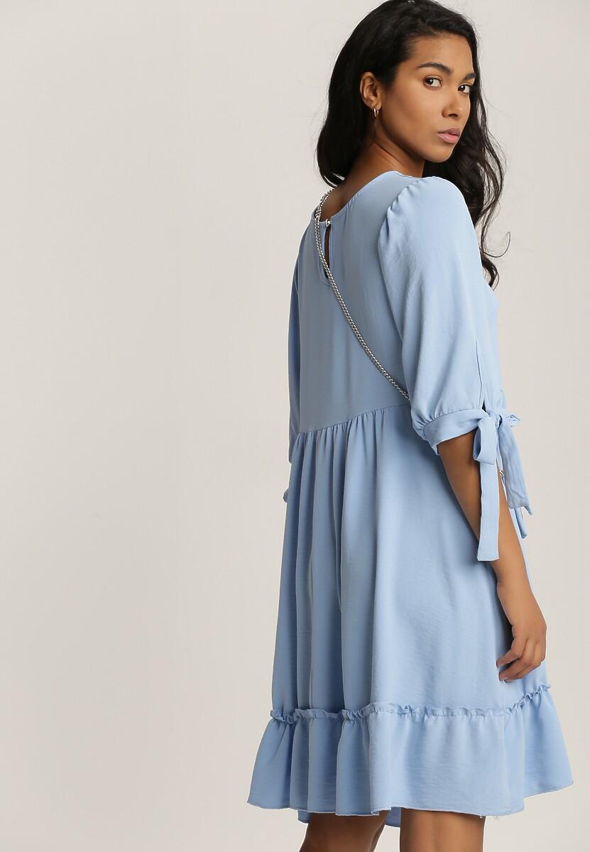 Niebieska Sukienka z Torebką Euphenohre
