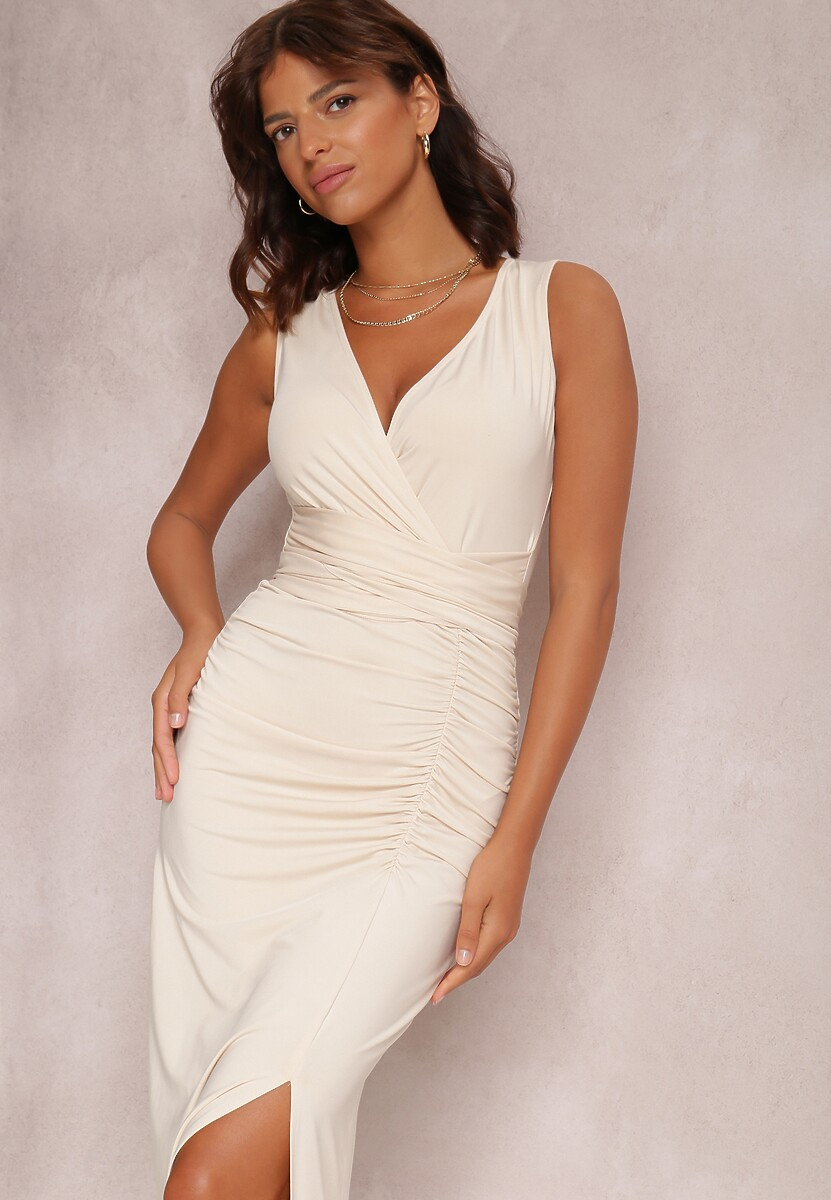 Jasnobeżowa Sukienka Alphophe